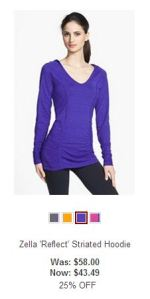 zella purple hoodie with rouching